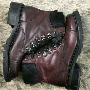 Frye Samantha Hiker Boots Bordeaux Leather 7.5
